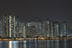 Hong Kong apartment blocks at night Royalty Free Stock Photos