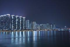 Hong Kong apartment blocks at night Royalty Free Stock Photo