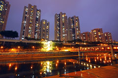 Hong Kong apartment blocks at sunset time Royalty Free Stock Image
