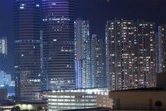 Hong Kong apartments at night Stock Photos