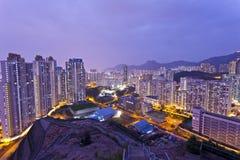 Hong Kong apartments at night Royalty Free Stock Images