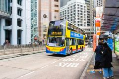 Street view with traffic and buildings in Central, Hong Kong stock photo