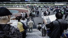 Hong Kong - April 2016: Hong Kong, Crowd and people gathering for gamble betting in Happy Valley horse racecourse, stock photo