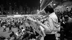 Hong Kong - April 2016: Hong Kong, Menigte en mensen die FO verzamelen Royalty-vrije Stock Foto