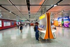 HONG KONG - APRIL 2014: MTR underground station in Hong Kong. Ma Royalty Free Stock Photos