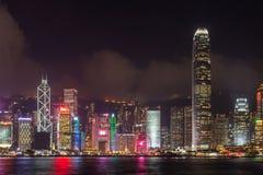 Victoria Harbor of Hong Kong City at a foggy night stock photos