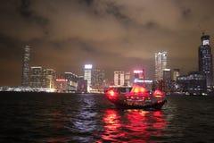 Hong Kong Aqua Luna, på natten Royaltyfria Foton