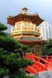 Hong Kong. Arch Bridge and Pavilion in Nan Lian Garden, Hong Kong Royalty Free Stock Image
