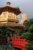 Hong Kong. Arch Bridge and Pavilion in Nan Lian Garden, Hong Kong Royalty Free Stock Photography