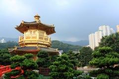 Hong Kong. Arch Bridge and Pavilion in Nan Lian Garden, Hong Kong Royalty Free Stock Images