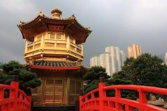 Hong Kong. Arch Bridge and Pavilion in Nan Lian Garden, Hong Kong Stock Photo