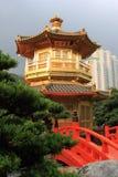 Hong Kong. Arch Bridge and Pavilion in Nan Lian Garden, Hong Kong Royalty Free Stock Photos