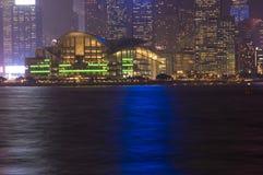 Hong Kong - arquitectura da cidade da noite Imagens de Stock