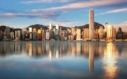 Free Hong Kong At Sunrise With Reflection, Financial Downtow With Skyscrapers Royalty Free Stock Images - 163614339