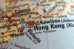 Hong Kong auf der Karte Lizenzfreies Stockbild
