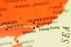 Hong Kong auf Karte Lizenzfreie Stockbilder