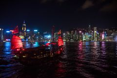Hong Kong August 7, 2018: Central bay and a tourist boat stock photos