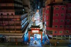 Hong Kong - 7. August 2018: Tempelstraßen-Nachtmarkteintritt stockfotos