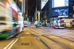 Hong Kong autobusowy pośpiech w centrali Zdjęcia Stock