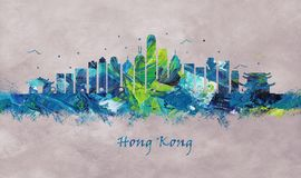Hong Kong China, Skyline stock illustration