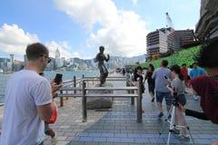 Hong Kong The Avenue av stjärnor Arkivfoto