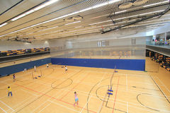 Hong Kong badmintonkorridor i Hang Hau Sports Centre Royaltyfri Bild