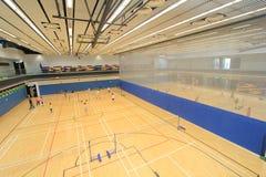 Hong Kong badmintonkorridor i Hang Hau Sports Centre arkivbild