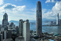 Hong Kong Bank Skysraper with blue sky Stock Photo