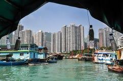 Hong Kong bay from a boat stock photo