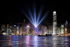 Hong Kong bay and night skyline Royalty Free Stock Image