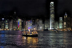 Hong Kong bay and night skyline Stock Photo