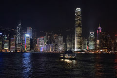Hong Kong bay and night skyline Royalty Free Stock Photos