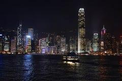 Hong Kong bay and night skyline Royalty Free Stock Photos