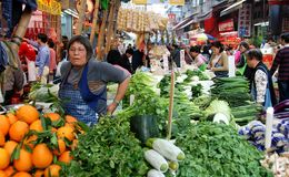 Hong Kong: Bezirk-Straßen-im Freienmarkt Stockfotos