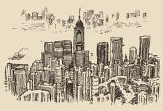 Hong Kong big city architecture hand drawn sketch Royalty Free Stock Image