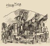 Hong Kong big city architecture hand drawn sketch Royalty Free Stock Images