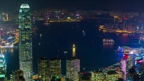 Hong Kong bij de mening van nachttimelapse Victoria stock videobeelden