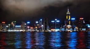 Hong Kong bis zum Nacht Stockfoto