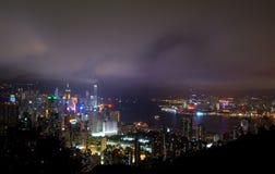 Hong Kong bis zum Nacht Stockfotografie