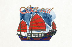 Hong Kong boat Red-sail Junk boat royalty free stock photography