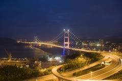 Hong Kong bridge. A magical evening of Hong Kong Tsing Ma Bridge Royalty Free Stock Photo