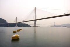 Hong kong bridge. It is beautiful night scenes of Bridge in Hong Kong Royalty Free Stock Images