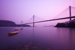 Hong Kong bridge. It is beautiful night scenes of Bridge in Hong Kong Royalty Free Stock Photos