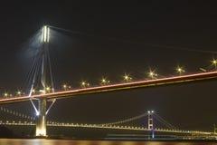 Hong kong bridge. It is beautiful night scenes of Bridge in Hong Kong Royalty Free Stock Image