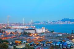 Hong Kong bridge and cargo container terminal Royalty Free Stock Photography