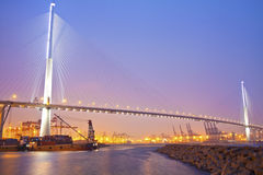 Hong Kong bridge at sunset Royalty Free Stock Photos