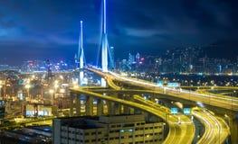 Hong Kong Bridge of transportation at night Royalty Free Stock Image