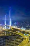 Hong Kong Bridge of transportation at night Stock Photo