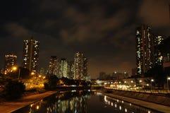 Hong Kong Budować Neonowy Zdjęcia Stock