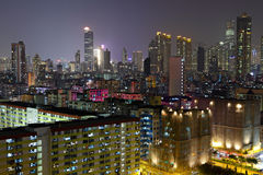 Hong Kong buildings at night Royalty Free Stock Photos